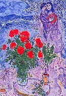 Marc Chagall : The Lovers Roses : $369