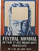 Magritte : Poster for the festival Mondial du Film et des Beaux-Arts 1947 : $355