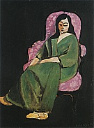 Matisse : Laurette with a Green Dress Black Background 1916-17 : $395