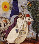 Marc Chagall : Fiancees of the Eiffel Tower 1939 : $399