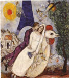 Marc Chagall : Fiancees of the Eiffel Tower 1939 : $379