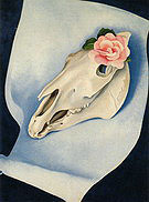 Georgia O'Keeffe : Horses Skull with Pink Rose 1931 : $399