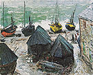 Claude Monet : Boats in Winter Quarters Etretat 1885 : $369