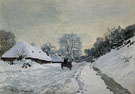 Claude Monet : The Cart Snow Covered Road at Honfleur 1867 : $389