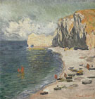 Claude Monet : Etretat the Beach and Eastern Rock Arch 1885 : $389