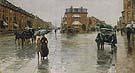 Childe Hassam : Rainy Day Columbus Avenue Boston 1885 : $389