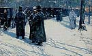 Childe Hassam : Cab Stand at Night Madison Square 1891 : $389