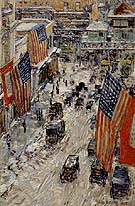 Childe Hassam : Flags on Fifty Seventh Street The Winter of 1918 : $389