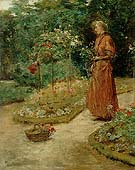 Childe Hassam : Woman Cutting Roses in a Garden 1888 : $369