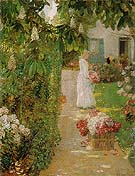Childe Hassam : Gathering Flowers in a French Garden 1888 : $389