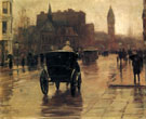 Childe Hassam : Columbus Avenue Rainy Day c1885 B : $389