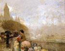 Childe Hassam : Flower Girl By The Seine Paris 1889 : $389