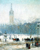 Childe Hassam : Snowstorm Madison Square c1890 : $389