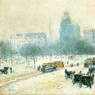 Childe Hassam : Winter In Union Square c1892 : $369